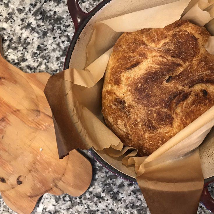 No Knead Roasted Garlic Rustic Bread