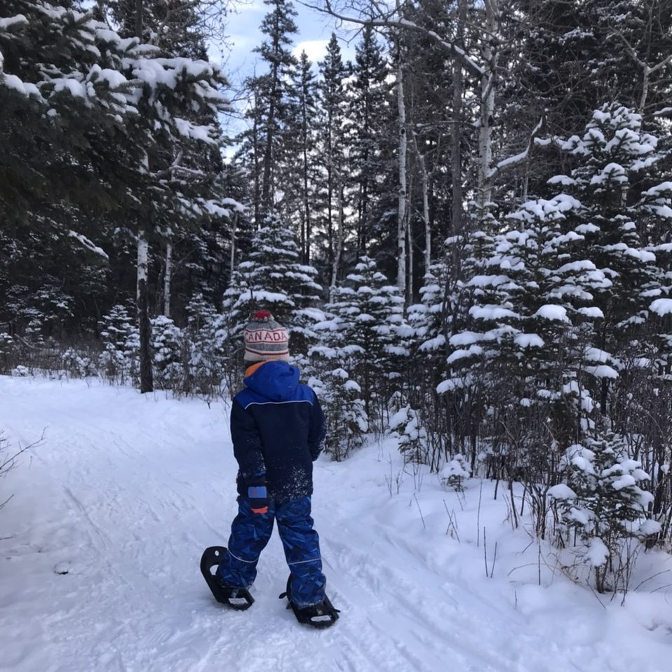 Get outside this winter snow shoeing in Canada for preschoolers