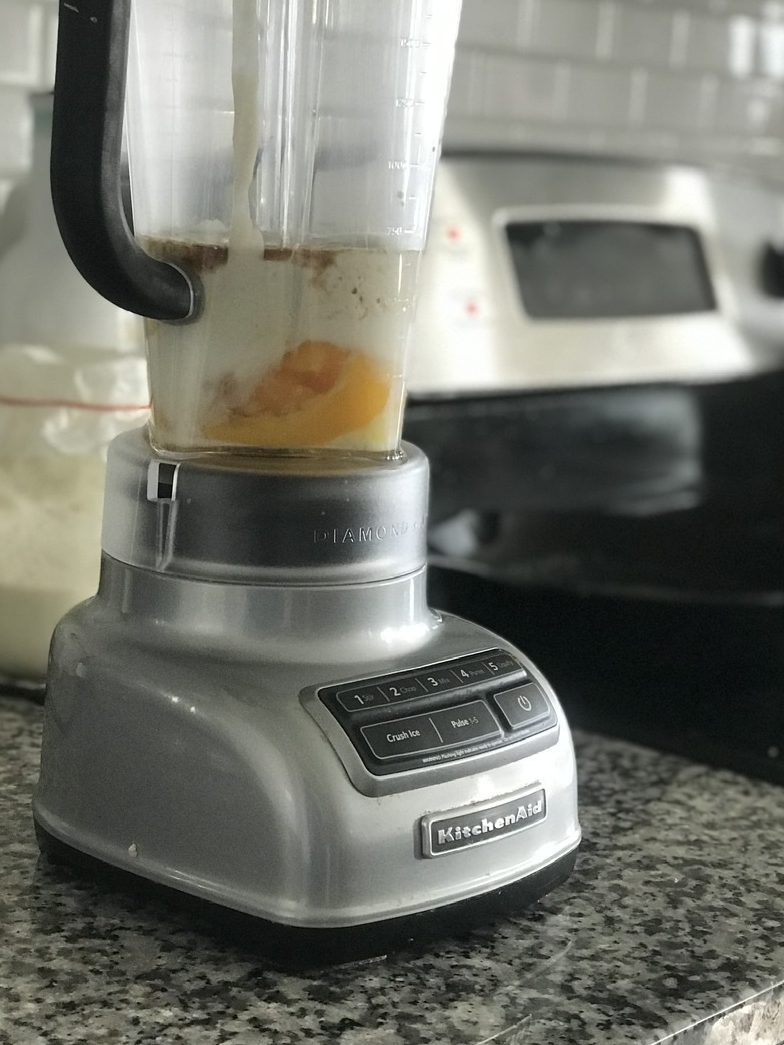 Sourdough Dutch baby pancake batter in blender