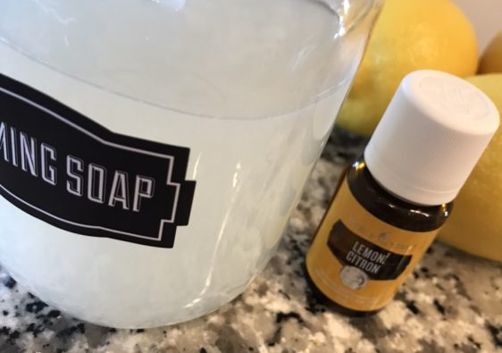 Homemade foaming soap with young living essential oils and dr bronners